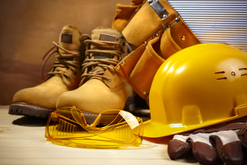 safety boots and hat